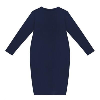 Взрослое трикотажное платье темно-синее