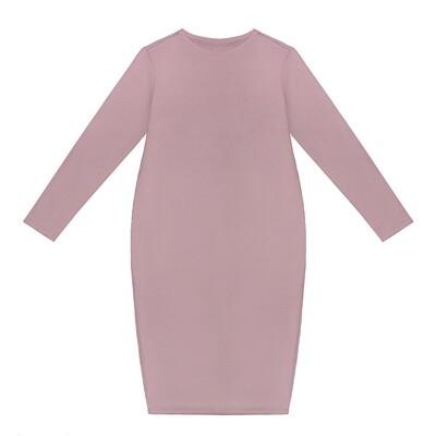 Взрослое трикотажное платье розовое