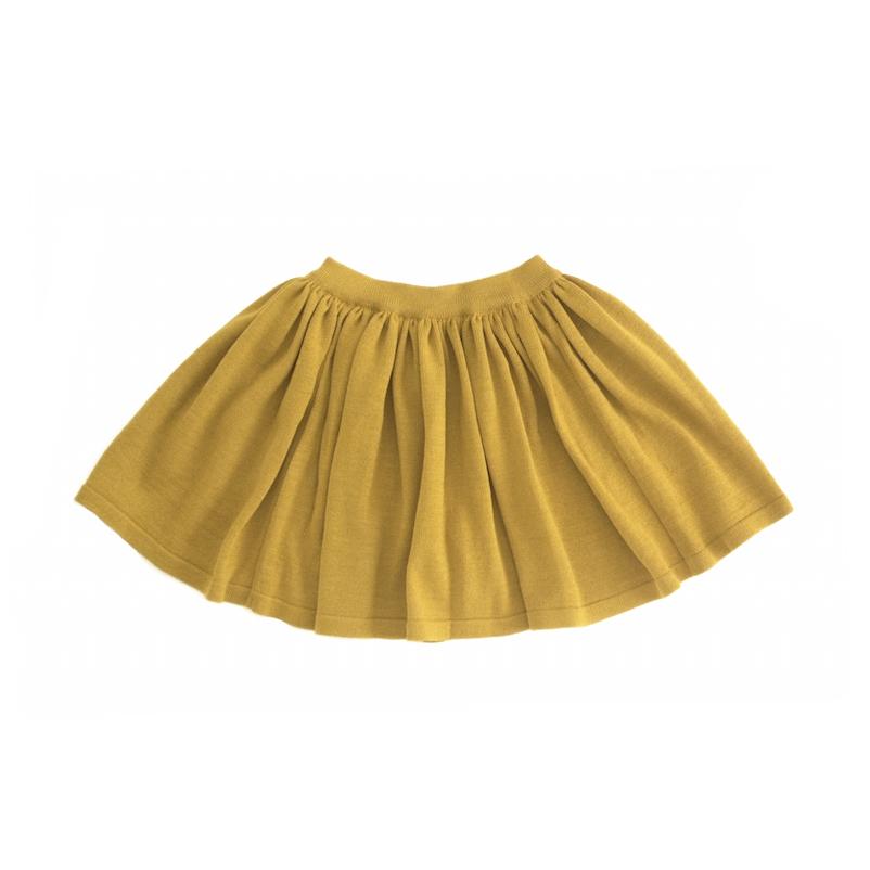 Вязаная юбка жёлто-горчичная