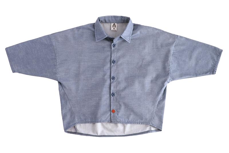 Рубашка унисекс cиняя «джинс» + красная пуговка