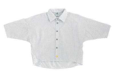Рубашка унисекс белая в серую клетку + жёлтая пуговка