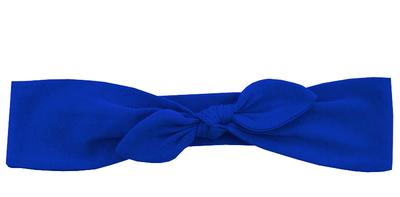Трикотажная повязка с бантиком васильковая