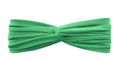 Трикотажная повязка перекрученная зеленая