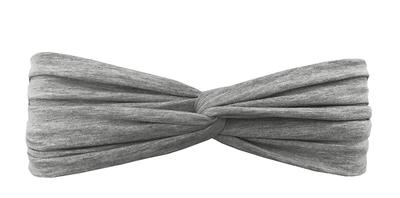 Трикотажная повязка перекрученная серая меланж