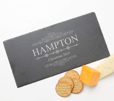 Personalized Slate Cheese Board Custom Engraved Slate Cheese Board 15 x 7 HOLIDAY