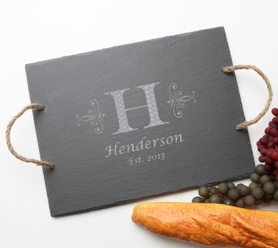 Personalized Slate Serving Tray Rope 15 x 12 DESIGN 2