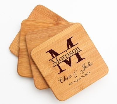 Personalized Bamboo Coasters Engraved Bamboo Coaster Set DESIGN 24