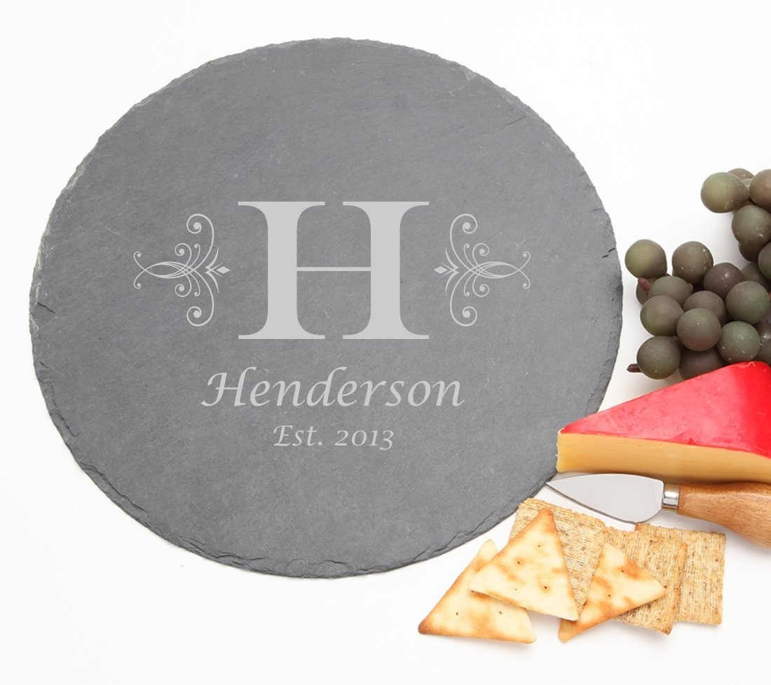 Personalized Slate Cheese Board Round 12 x 12 DESIGN 2