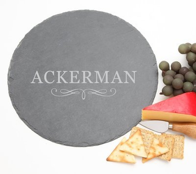 Personalized Slate Cheese Board Round 12 x 12 DESIGN 8