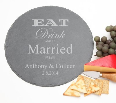 Personalized Slate Cheese Board Round 12 x 12 DESIGN 17