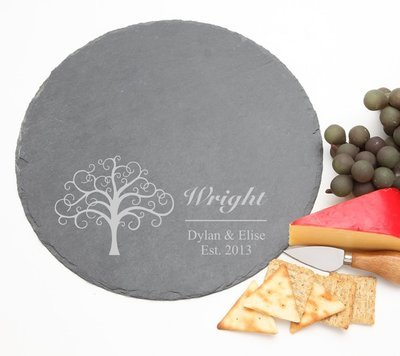 Personalized Slate Cheese Board Round 12 x 12 DESIGN 18