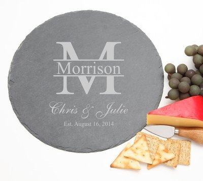 Personalized Slate Cheese Board Round 12 x 12 DESIGN 24