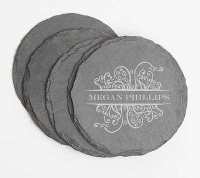 Personalized Slate Coasters Round Engraved Slate Coaster Set DESIGN 4