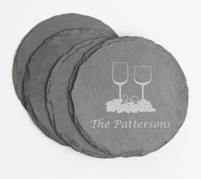 Personalized Slate Coasters Round Engraved Slate Coaster Set DESIGN 5