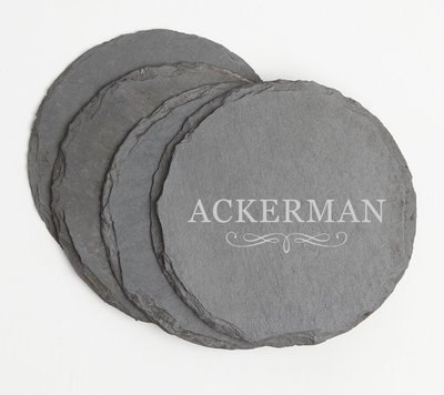 Personalized Slate Coasters Round Engraved Slate Coaster Set DESIGN 8