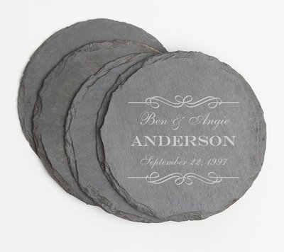 Personalized Slate Coasters Round Engraved Slate Coaster Set DESIGN 9