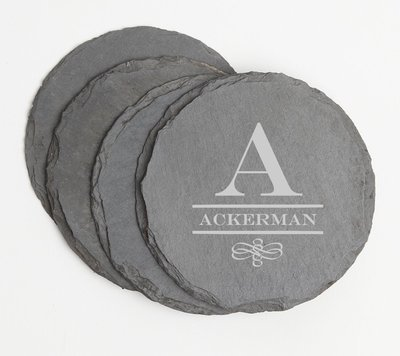 Personalized Slate Coasters Round Engraved Slate Coaster Set DESIGN 12