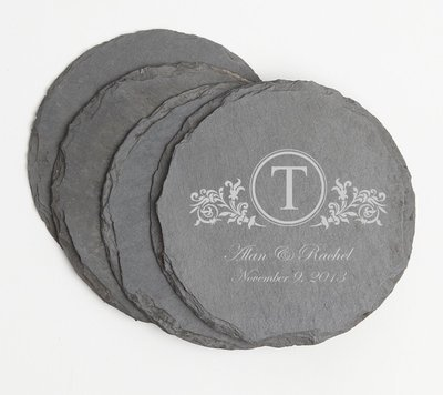 Personalized Slate Coasters Round Engraved Slate Coaster Set DESIGN 15