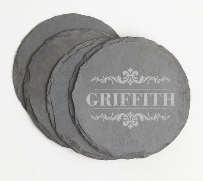 Personalized Slate Coasters Round Engraved Slate Coaster Set DESIGN 16