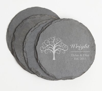 Personalized Slate Coasters Round Engraved Slate Coaster Set DESIGN 18