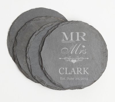 Personalized Slate Coasters Round Engraved Slate Coaster Set DESIGN 21