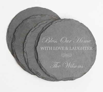 Personalized Slate Coasters Round Engraved Slate Coaster Set DESIGN 22
