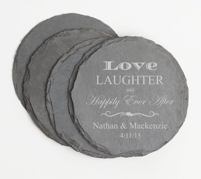 Personalized Slate Coasters Round Engraved Slate Coaster Set DESIGN 26