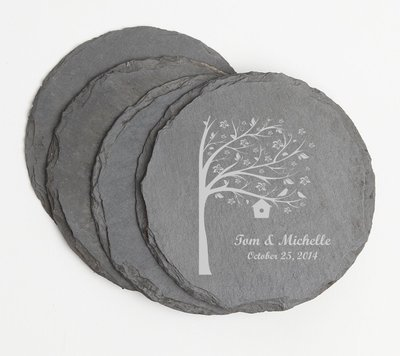 Personalized Slate Coasters Round Engraved Slate Coaster Set DESIGN 27