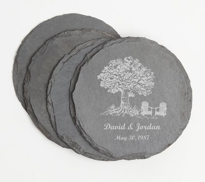 Personalized Slate Coasters Round Engraved Slate Coaster Set DESIGN 31