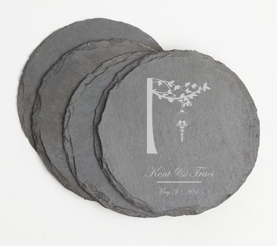 Personalized Slate Coasters Round Engraved Slate Coaster Set DESIGN 32