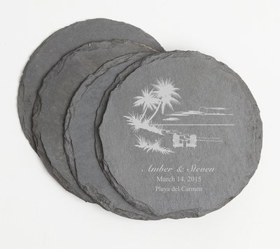Personalized Slate Coasters Round Engraved Slate Coaster Set DESIGN 33