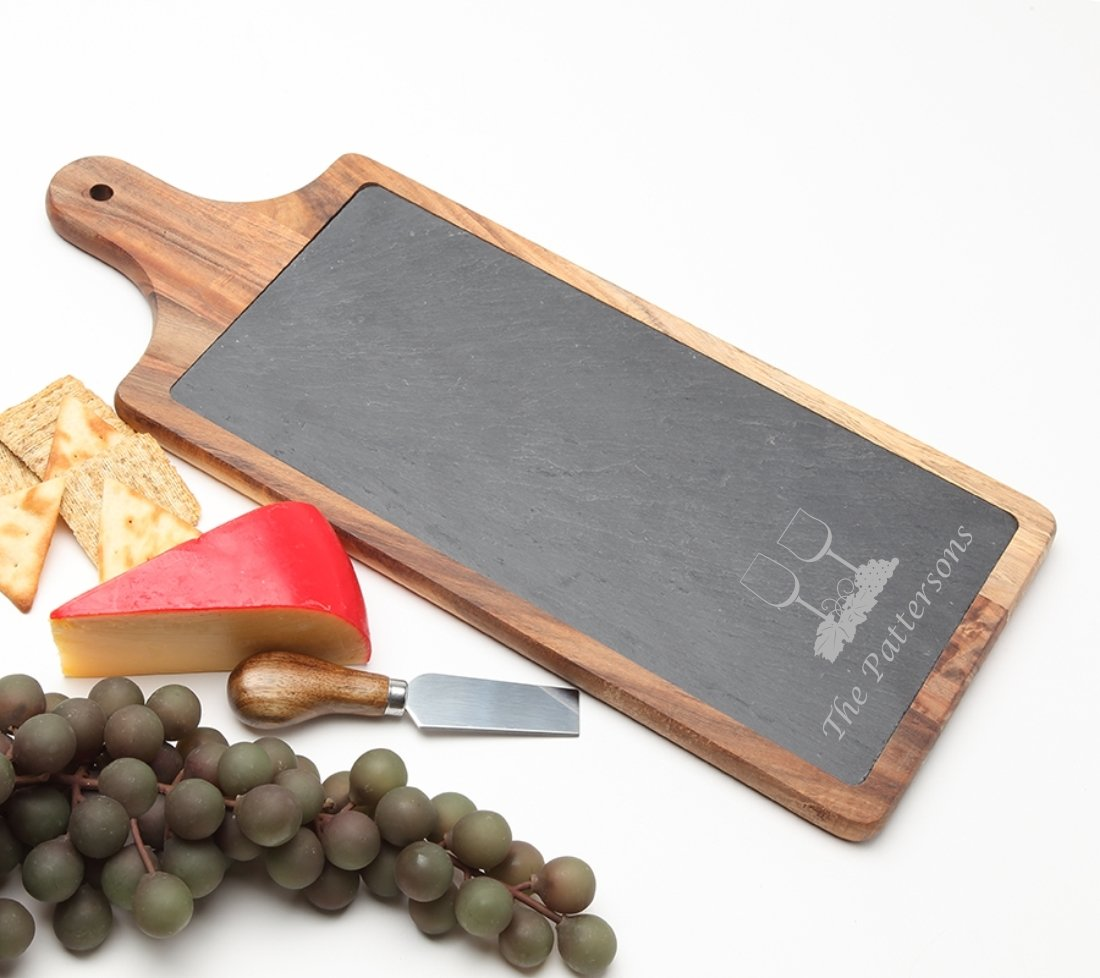 Personalized Cheese Board Slate and Acacia Wood 17 x 7 DESIGN 5