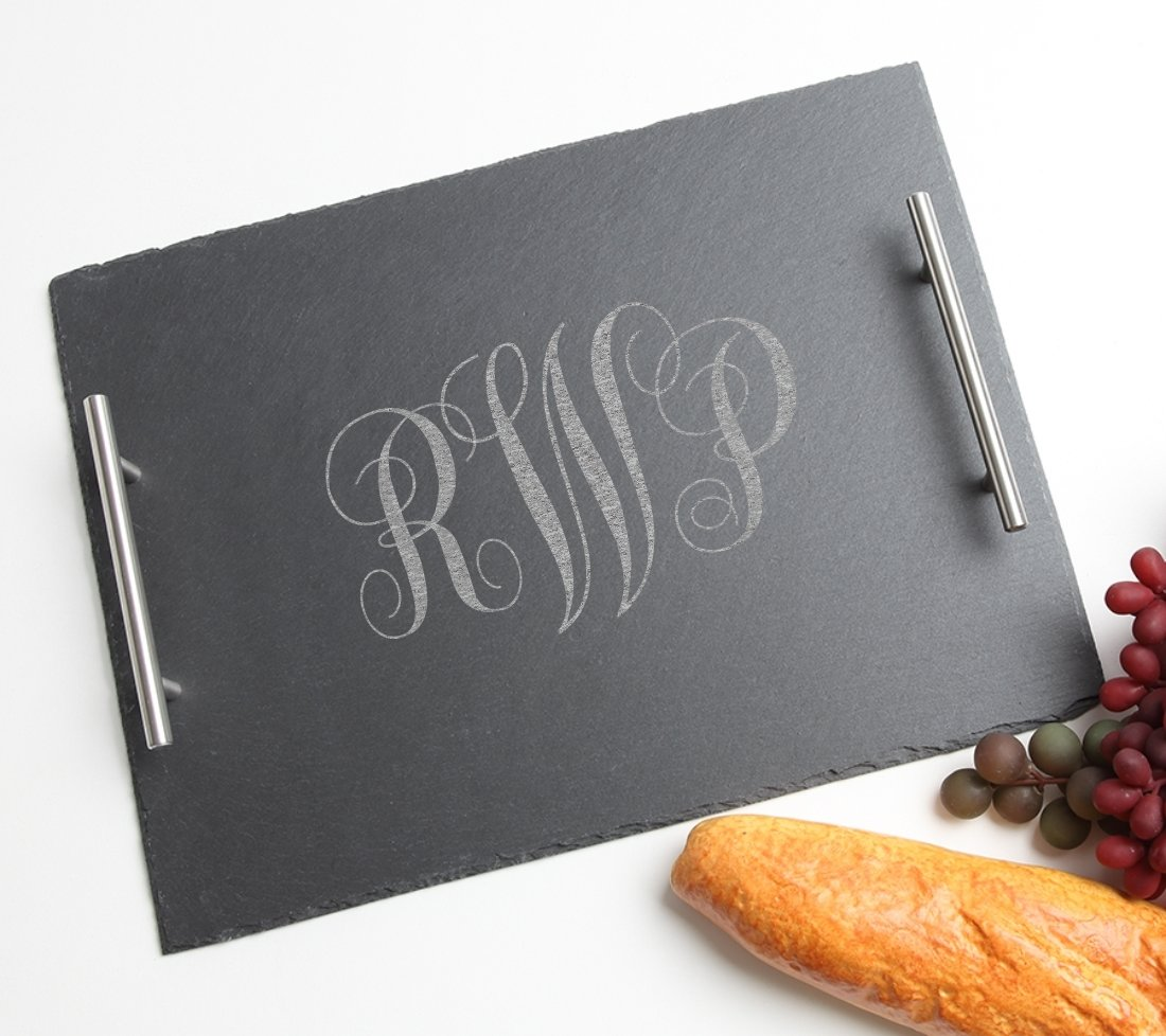 Personalized Slate Serving Tray Stainless 15 x 12 DESIGN 1