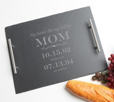 Personalized Slate Serving Tray Stainless 15 x 12 DESIGN 38