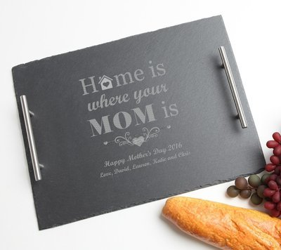 Personalized Slate Serving Tray Stainless 15 x 12 DESIGN 42