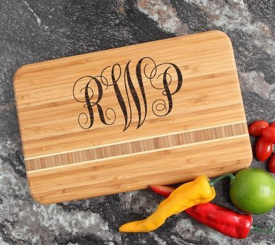 Personalized Bamboo Cutting Board Engraved 12 x 8 DESIGN 1