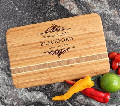 Personalized Bamboo Cutting Board Engraved 12 x 8 DESIGN 14
