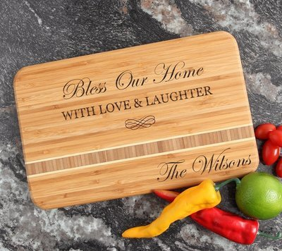 Personalized Bamboo Cutting Board Engraved 12 x 8 DESIGN 22