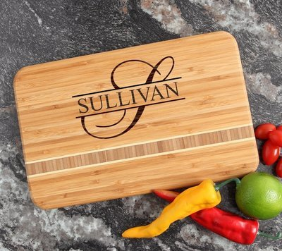 Personalized Bamboo Cutting Board Engraved 12 x 8 DESIGN 25