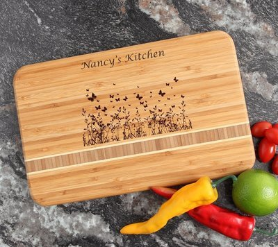 Personalized Bamboo Cutting Board Engraved 12 x 8 DESIGN 30