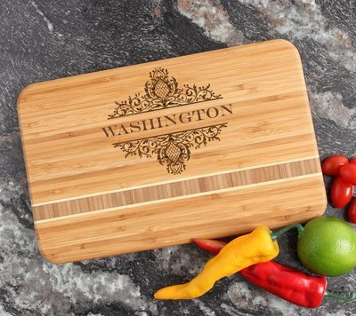 Personalized Bamboo Cutting Board Engraved 12 x 8 DESIGN 36