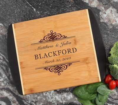 Cutting Board Engraved Personalized Bamboo 12 x 9 DESIGN 14