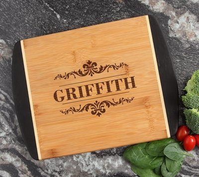 Cutting Board Engraved Personalized Bamboo 12 x 9 DESIGN 16