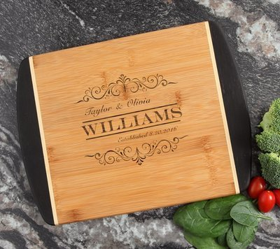 Cutting Board Engraved Personalized Bamboo 12 x 9 DESIGN 34