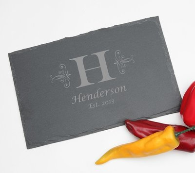 Personalized Slate Cheese Board 11 x 7 DESIGN 2