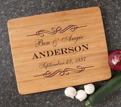 Engraved Bamboo Cutting Board Personalized 15x12 DESIGN 9