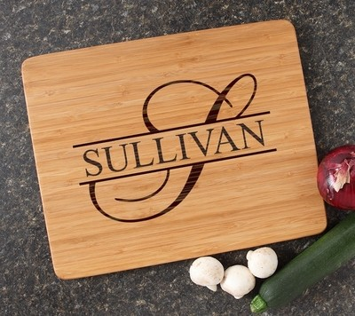 Engraved Bamboo Cutting Board Personalized 15x12 DESIGN 25