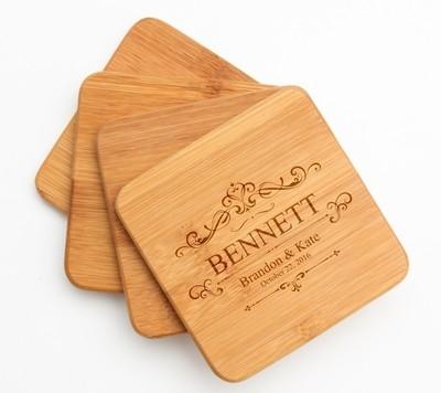 Personalized Bamboo Coasters Engraved Bamboo Coaster Set DESIGN 35