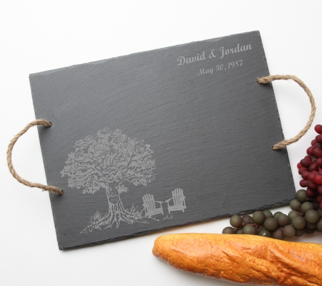 Personalized Slate Serving Tray Rope 15 x 12 DESIGN 31