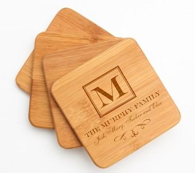 Personalized Bamboo Coasters Engraved Bamboo Coaster Set DESIGN 41
